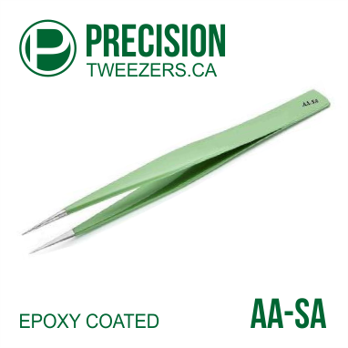 Epoxy Coated - Stainless Steel Tweezers - Model AA-SA - Medical Grade Precision Tweezers - PrecisionTweezers.ca