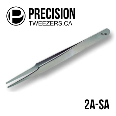 Stainless Steel Tweezers - Model 2A-SA - Medical Grade Precision Tweezers - PrecisionTweezers.ca