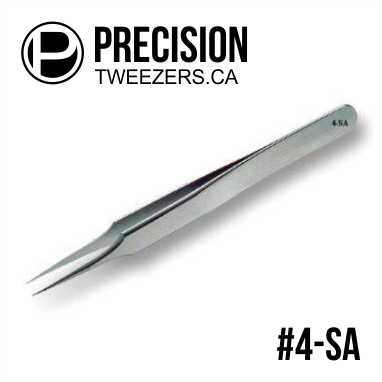 Stainless Steel Tweezers - Model #4-SA - Medical Grade Precision Tweezers - PrecisionTweezers.ca